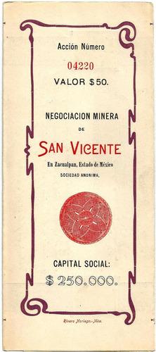 Imagen 1 de 3 de Accion Minera De  De San Vicente 1905