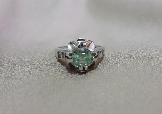Diamante Moisanete Verde Natural Em Anel De Prata Aro 17