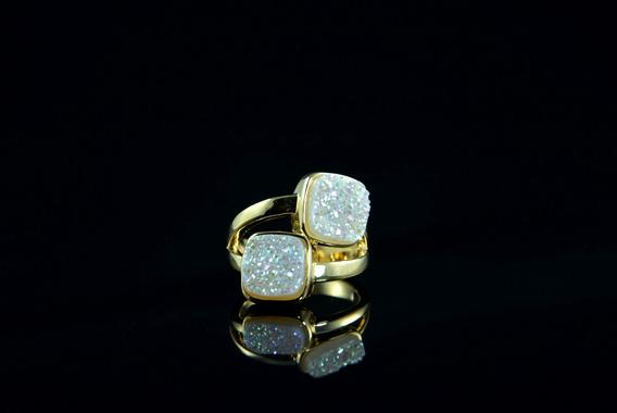 Anel 2 Pedras Drusa Perolada Metalizada - 143143332an33dpm