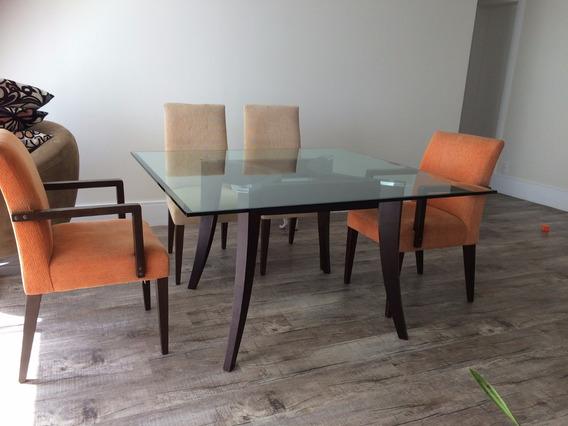Mesa De Jantar Luxuosa Vidro 20mm + 4 Cadeiras + 2 Poltronas