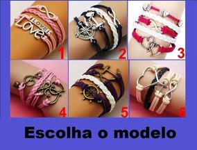 Pulseira Bracelete Feminino De Couro (frete 7,00 Reais)