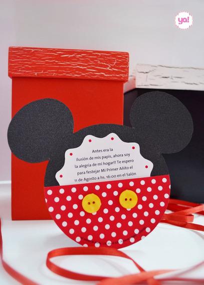 Tarjeta De Invitación Mickey Mouse Minnie Mouse Invitaciones