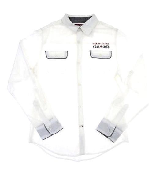 Guess Camisa Blanca T 12-14 Corte Regular Casual C289