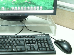 Suporte De Monitor Porta Teclado Acrilico 10mm Base De Mesa