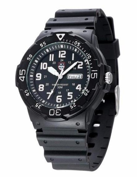 Relógio Masculino Militar Sport Black Calendário Xi013 New