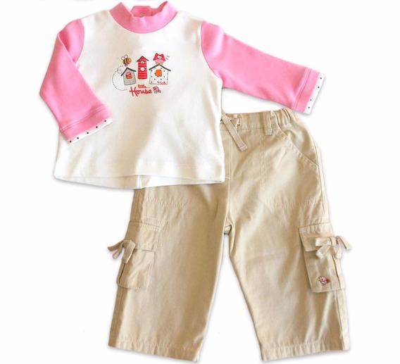 Conj. Infantil Calça Chicco Coruja E Abelha Menina 9 Meses