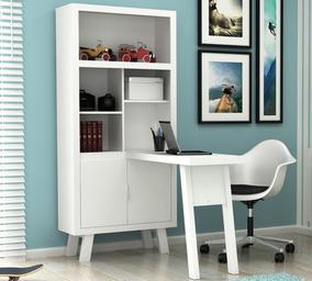 Armario Escrivaninha Home Office Branco Tecno Compra Segura