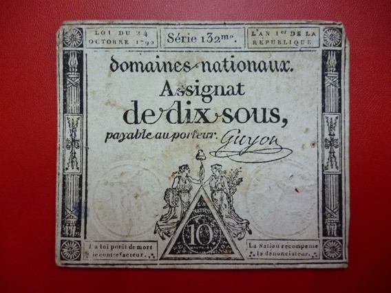 Francia Billete Revolución Francesa 10 Sous Vf- 1792