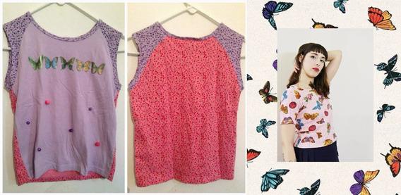 Remeras Mariposas Flores Rosas Vintage 90s Para Chicas Usa