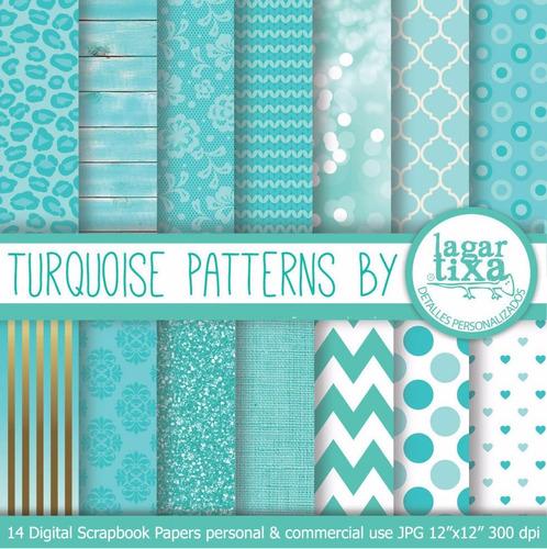 Kit Imprimible Pack Fondos Turquesa Clipart