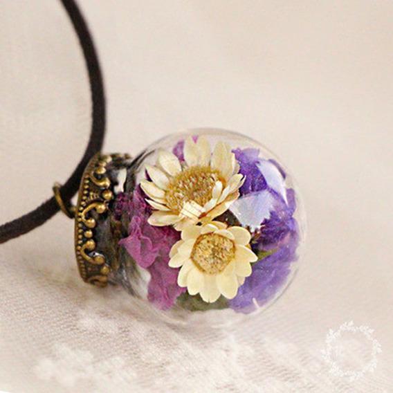 Colar Bola De Vidro Cristal Flores