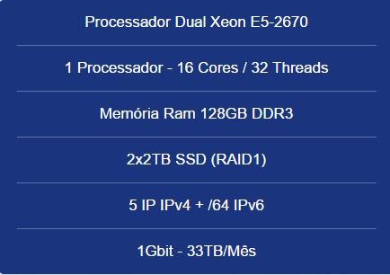 Servidor Dedicado Dual Xeon E5-2670- 128gb- 2x2tb Ssd-5 Ip