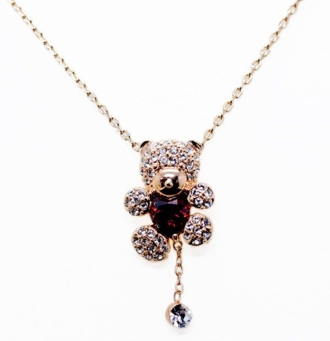 Collar Corazon Oso Swarovski Crystals Con Estuche En Stock