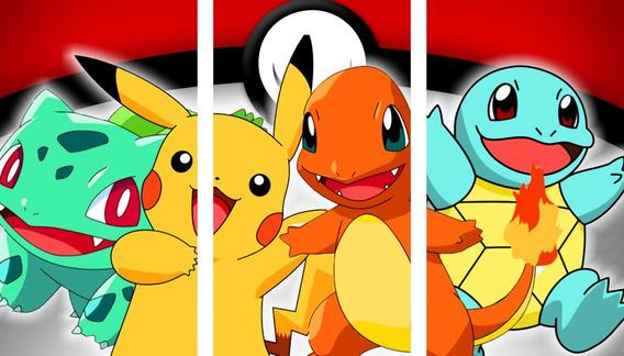 Pokemon - Pikachu Y Otros - Cuadros Trípticos Modernos