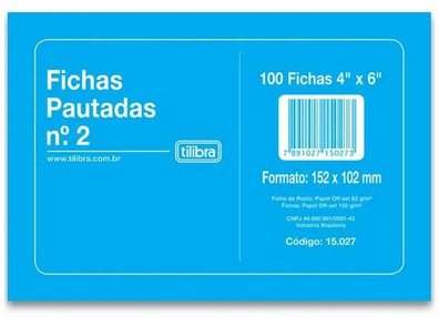 Ficha Pautada Nº2 4x6 C/100 Fichas Tilibra 2 Unidades
