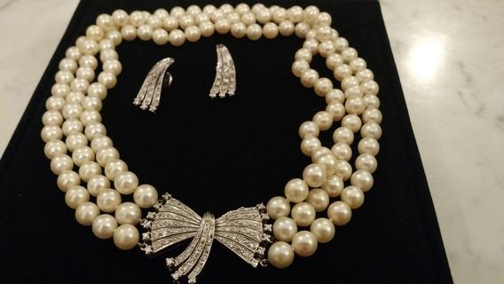 Colar E Brincos Vivara Pérolas E Diamantes Ouro Branco 18 K