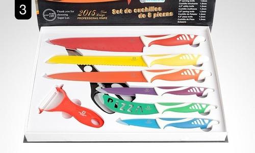 Set De Cuchillos Recubiertos Con Tijeras Y Pelador