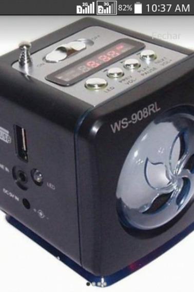 Caixa Caixinha De Som Ws-980 Rádio Fm Entrada Usb