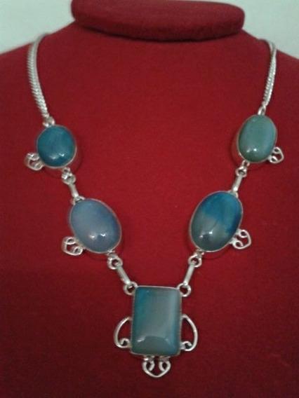 Colar Gargantilha De Prata 925 Pedra Azul Calcedônia Natural