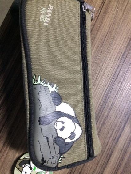 Estojo Lápis 2 Compartimento Nici Panda