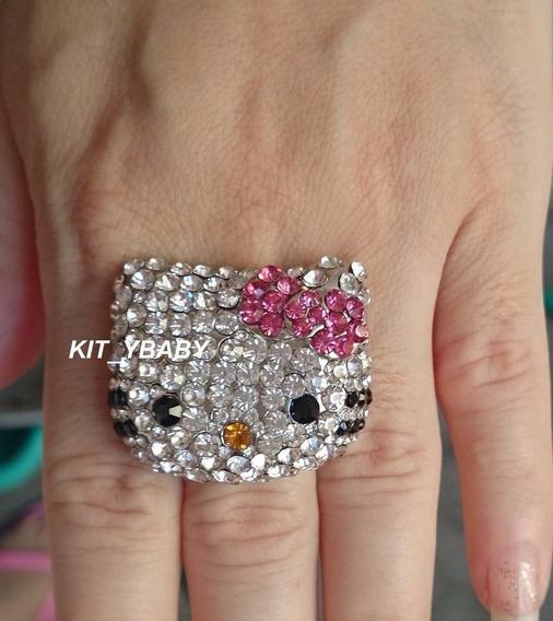 Hello Kitty, Anillo Elegante De Piedras, Ajustable Amor