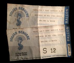 Tickets De Entrada No Follies Bergere Em Paris, 1984