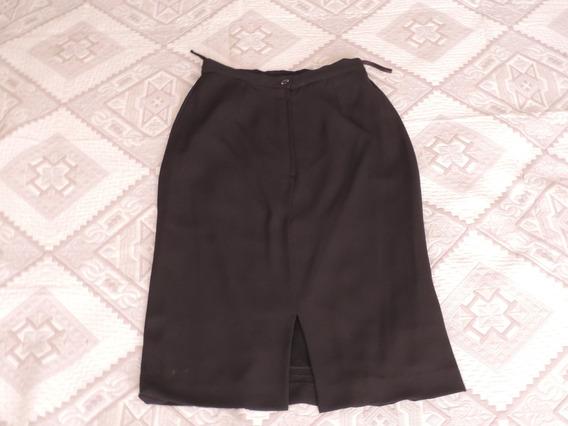 Falda Negra En Seda Talla 8 Usada Perfecto Estado