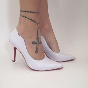 435ea0b6d8 Scarpin Preto Com Sola Rosa Sapatos - Sapatos Branco no Mercado ...
