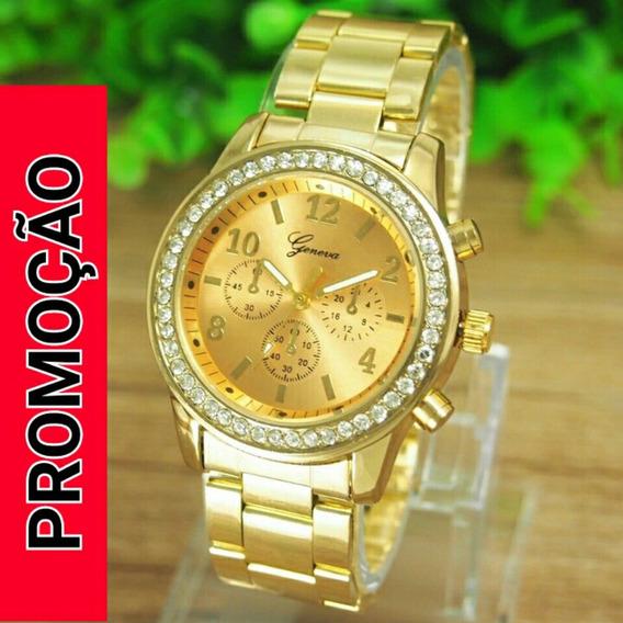 Relógio Feminino Geneva Dourado Analógico Promoção