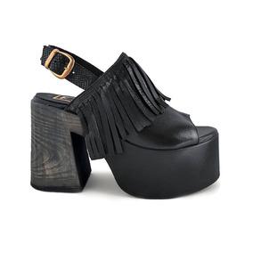 b0504c15c8e Zapatos Mujer Verano Plataforma Negros Con Flecos - Ropa y ...