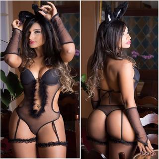 Coelha Playboy Sensual Body Coelhinha Lingerie Bojo Festa
