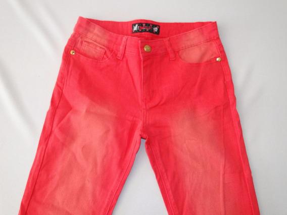 Calça Skinny Sarja Vermelha Juvenil Ref.c7! Queima D Estoque