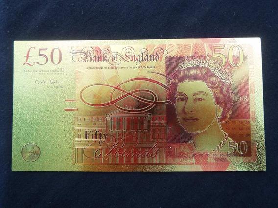 2738 - England 50 Fifty Pounds - Banhada A Ouro 24k