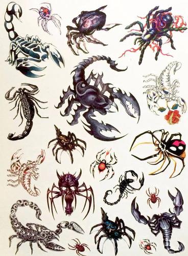 Imagem 1 de 6 de Kit 60tatuagens Escorpiões E Aranhas Temporárias Tattoo N15