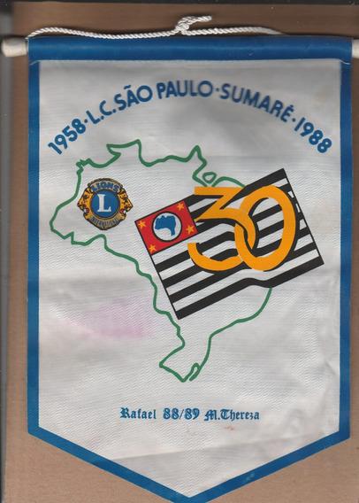 Flâmula Antiga Lions Clube São Paulo - 30 Anos - 1988 - Ao