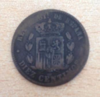 Moneda Española Alfonso Xll De 10 Centimos