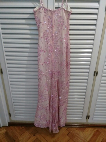 Vestido Glamour Fiesta Madrina Sirena Entallado Blanco Rosa