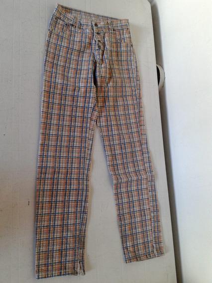 Pantalon Informal Cuadrille Celeste Y Beige S Impecable!