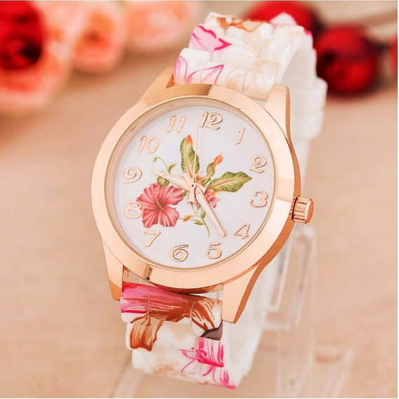 Relógio De Pulso Quartz Feminino Floral Rosa Importado