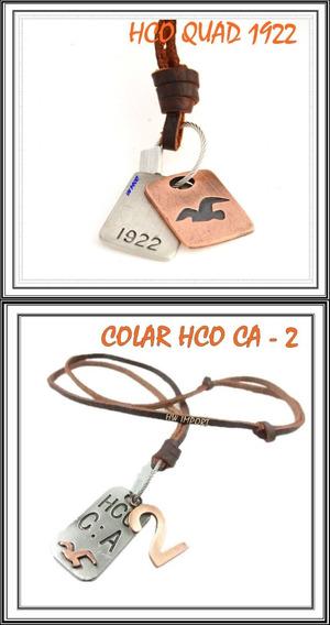 01 Colar Masculino Hollister Hco + Brinde 02 Pulseiras Couro
