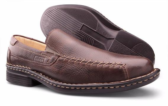 Sapato Masculino Couro Legítimo Antistress Café Zalupe