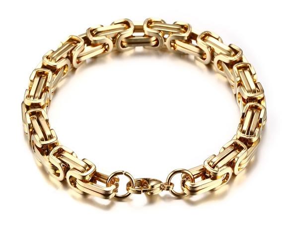 Pulseira Bracelete Quadrada Bizantino Banhada A Ouro 18k