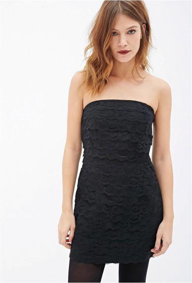 Vestido Forever 21 De Encaje Negro Strapless