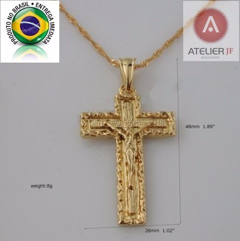 Corrente Cordão Trançado Crucifixo Trabalhado Jesus Ouro 18k