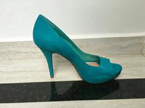 Sapato Peep Toe Schtuz Azul Turquesa