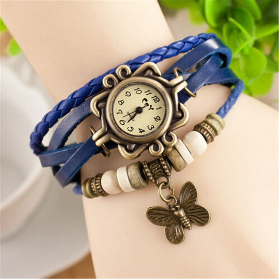 Relógio Com Pulseira De Couro Vintage Com Pingente Borboleta