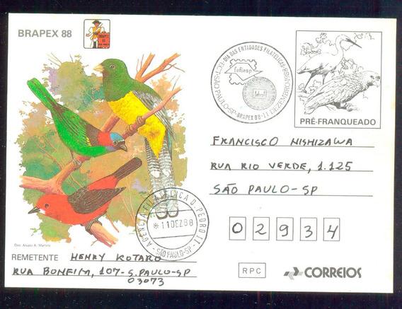 Bilhete Postal 1988 Braspex 88 Vii Circulado Rhm Bp-167 Rrr