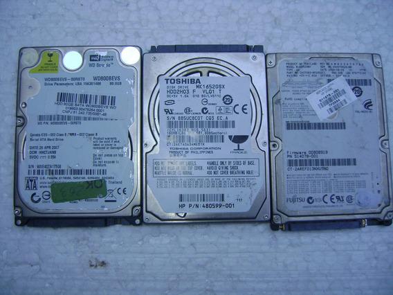 Lote 03 Hd Sata N Estado Wd Toshiba Fujitsu Gb Variado A59-3
