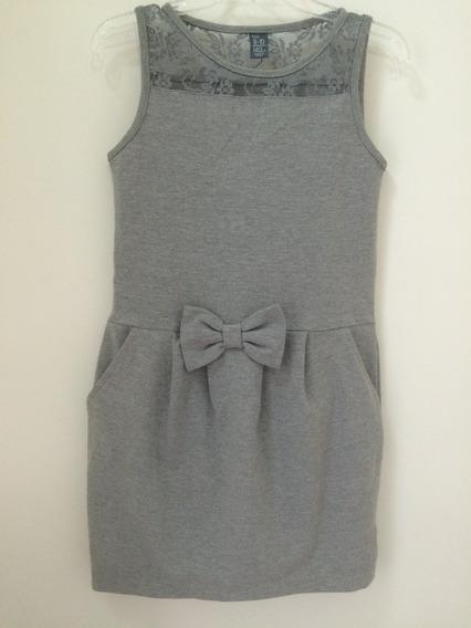 Vestido Cinza Com Renda Da Zara Tam.10