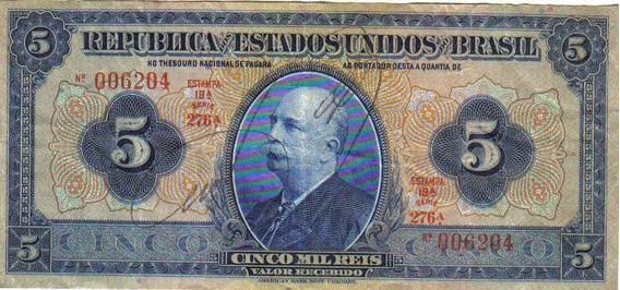 Brasil - Cédula De 5.000 Réis - 1.925 - Mbc/s